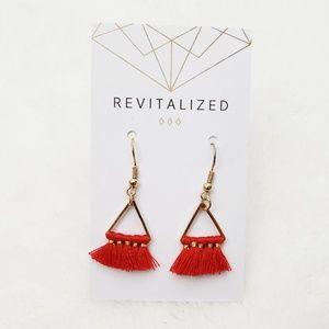 Red Fringe Triangle Earrings
